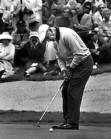 Ben Hogan putting during the 1966 U.S. Open golf tournament at the Olympic Club in S.F. (photo copyright 1966 Ron Riesterer