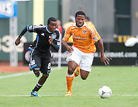 San Francisco, California - Saturday March 17, 2012: Jermaine Taylor and Marvin Chavez in action during the MLS match at AT&T Park. Houston Dynamo defeated San Jose Earthquakes  1-0