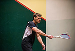 Christian Borgvall of Sweden and John Saies of New Zealand in action at the center court during the World Masters Squash Championships 2014 on 06 July 2014 at the Hong Kong Squash Centre in Hong Kong, China. Photo by Victor Fraile / Power Sport Images