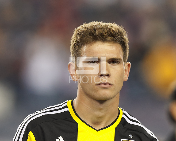 Columbus Crew midfielder Wil Trapp (20). In a Major League Soccer (MLS) match, the New England Revolution (blue) defeated Columbus Crew (white), 3-2, at Gillette Stadium on October 19, 2013.