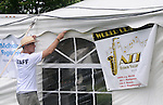 Staff Volunteer, Jeff Kosmacher, at work during the session by the Craig Harris Group at the Annual Jazz in the Valley Festival,  in Waryas Park in Poughkeepsie, NY, on Sunday, August 21, 2016. Photo by Jim Peppler. Copyright Jim Peppler 2016 all rights reserved.