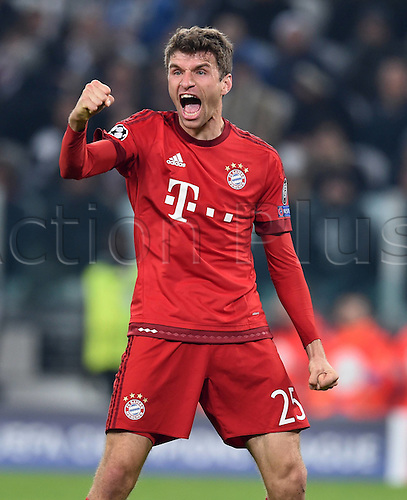 23.02.2016. Turin, Italy. UEFA Champions League football. Juventus versus Bayern Munich.  Thomas Mueller (FC Bayern Munich) Goal celebration for 0:1