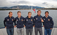 Swiss, Genève, September 14, 2015, Tennis,   Davis Cup, Swiss-Netherlands, Dutch team on a boat trip on lake Geneve, ltr:  Thiemo de Bakker, Tim van Rijthoven, Tallon Griekspoor,  Matwe Midelkoop and Jesse Huta Galung.<br />