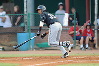 Bristol White Sox right fielder Juan Ramirez #39 swings at a pitch during a game against the Elizabethton Twins at Joe O'Brien Field on June 25, 2012 in Elizabethton, Tennessee. The Twins defeated the White Sox 9-1. (Tony Farlow/Four Seam Images).