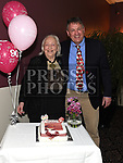 Carol Fraser celebrating her 90th birthday in The Westcourt Hotel with business partner Leo Monahan. Photo:Colin Bell/pressphotos.ie
