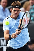10th January 2018, ASB Tennis Centre, Auckland, New Zealand; ASB Classic, ATP Mens Tennis;  Juan Martin Del Potro (ARG) during the ASB Classic ATP Men's Tournament Day 3