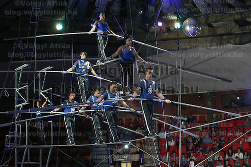 Artists of the Gerling Troupe of Colombia perform on the high rope in the new show titled Balance in Circus Budapest in Budapest, Hungary on October 04, 2015. ATTILA VOLGYI