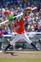 Virginia Cavaliers pitcher Alec Bettinger (13) delivers a pitch to the plate against the Florida Gators in Game 11 of the NCAA College World Series on June 19, 2015 at TD Ameritrade Park in Omaha, Nebraska. The Gators defeated Virginia 10-5. (Andrew Woolley/Four Seam Images)