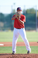 Andres Rivera (53), from Pasadena, California, while playing for the Red Sox during the Under Armour Baseball Factory Recruiting Classic at Red Mountain Baseball Complex on December 28, 2017 in Mesa, Arizona. (Zachary Lucy/Four Seam Images)