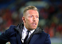 Craig Bellamy is interviewed on tv during the FIFA World Cup Qualifier Group D match between Wales and Republic of Ireland at The Cardiff City Stadium, Wales, UK. Monday 09 October 2017