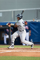 Andy Diaz (53) of the Pulaski Yankees follows through on his swing against the Danville Braves at American Legion Post 325 Field on July 31, 2016 in Danville, Virginia.  The Yankees defeated the Braves 8-3.  (Brian Westerholt/Four Seam Images)