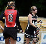 GER - Hannover, Germany, May 30: During the Women Lacrosse Playoffs 2015 match between DHC Hannover (black) and SC Frankfurt 1880 (red) on May 30, 2015 at Deutscher Hockey-Club Hannover e.V. in Hannover, Germany. Final score 23:3. (Photo by Dirk Markgraf / www.265-images.com) *** Local caption *** Sina John #14 of DHC Hannover