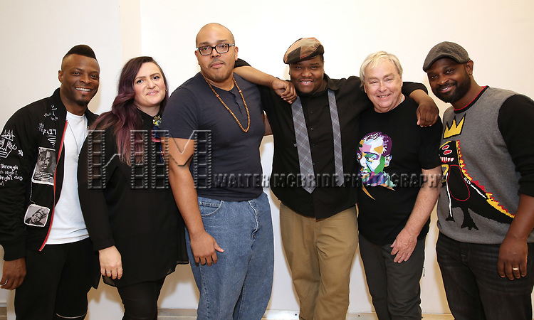 """Rickey Tripp, Annastacia Victory, Aurin Squire,  Juson Williams, Christopher Renshaw and Michael O. Michell. During the Open Rehearsal for the Miami New Drama's World Premiere Musical  """"A Wonderful World"""" at the Ripley-Grier Studios on January 26, 2020 in New York City."""