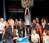 Sir Cameron Mackintosh's celebrates his 70th Birthday <br /> at the Noel Coward Theatre, London, Great Britain <br /> 17th October 2016 <br /> <br /> Sir Cameron pictured with the cast of Half a Sixpence <br /> which previews from 29th October 2016 cast includes Charlie Stemp as Arthur Kips swinging from the chandelier , Devon Elise Johnson as Ann and Emma Williams as Helen <br /> singing him Flash, Bang, Wallop and Happy Birthday <br /> <br /> with a birthday cake in the shape of a banjo <br /> <br /> <br /> Photograph by Elliott Franks <br /> Image licensed to Elliott Franks Photography Services