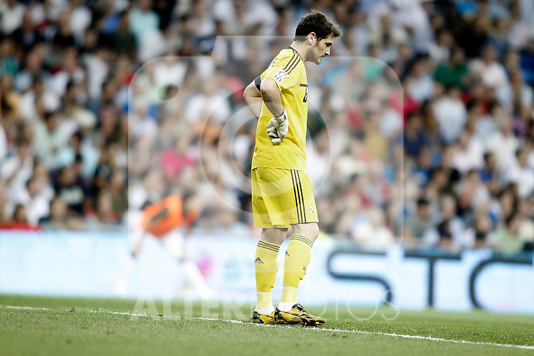 Real Madrid's Iker Casillas dejected during La Liga Match. September 24, 2011. (ALTERPHOTOS/Alvaro Hernandez)