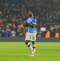 27th December 2019; Molineux Stadium, Wolverhampton, West Midlands, England; English Premier League, Wolverhampton Wanderers versus Manchester City; Raheem Sterling of Manchester City clapping to thank the Manchester City supporters after the final whistle - Strictly Editorial Use Only. No use with unauthorized audio, video, data, fixture lists, club/league logos or 'live' services. Online in-match use limited to 120 images, no video emulation. No use in betting, games or single club/league/player publications