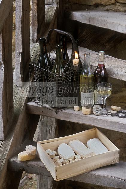 Europe/France/Rhône-Alpes/69/Rhône/Bagnols: Fromages de chêvre du beaujolais et AOC Beaujolais blanc et rouge  au Château de Bagnols