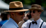June 8, 2019 : A man wears a hat on Belmont Stakes Festival Saturday at Belmont Park in Elmont, New York. Scott Serio/Eclipse Sportswire/CSM