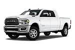 Stock pictures of low aggressive front three quarter view of a 2019 Ram 2500 Laramie 4 Door Pick Up