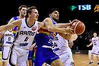 Rams' Emmett Naar and Saints' Shea Ili in action during the NBL- Cigna Saints v Rams at TSB Arena,  Wellington, New Zealand on Sunday 23 June 2019. <br /> Photo by Masanori Udagawa. <br /> www.photowellington.photoshelter.com