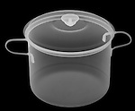 X-ray image of a lidded big pot (white on black) by Jim Wehtje, specialist in x-ray art and design images.