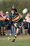 B. Clark kicks for goal. CMRFU Counties Power Premier Club Rugby game between Patumahoe & Pukekohe played at Patumahoe on April 12th, 2008..The halftime score was 10 all with Pukekohe going on to win 23 - 18.