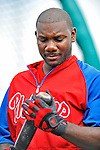 9 March 2011: Philadelphia Phillies' first baseman Ryan Howard awaits his turn in the batting cage prior to a Spring Training game against the Detroit Tigers at Joker Marchant Stadium in Lakeland, Florida. The Phillies defeated the Tigers 5-3 in Grapefruit League play. Mandatory Credit: Ed Wolfstein Photo
