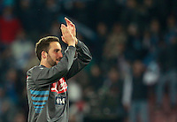 Calcio, Serie A: Napoli vs Juventus. Napoli, stadio San Paolo, 30 marzo 2014. <br /> Napoli forward Gonzalo Higuain, of Argentina, greets fans at the end of the Italian Serie A football match between Napoli and Juventus at Naples' San Paolo stadium, 30 March 2014. Napoli won 2-0.<br /> UPDATE IMAGES PRESS/Isabella Bonotto
