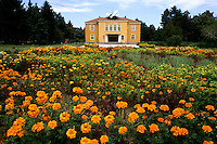 Beautiful yellow government building with flowers in Obnova Bulgaria