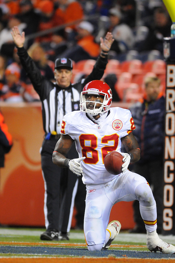 14 NOVEMBER 2010:  Chiefs wide receiver Dwayne Bowe has a late touchdown as signaled by a referee  during a regular season National Football League game between the Kansas City Chiefs and the Denver Broncos at Invesco Field at Mile High in Denver, Colorado. The Broncos beat the Chiefs 49-29.