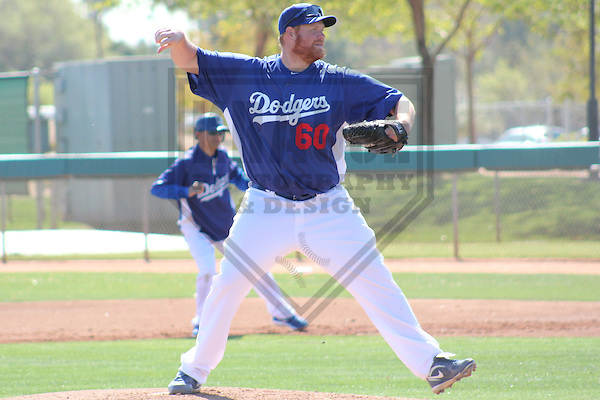 PHOENIX - March 2012: Todd Coffey (60) of the Los Angeles Dodgers during a Spring Training practice on March 20, 2012 at Camelback Ranch in Phoenix, Arizona. (Photo by Brad Krause).