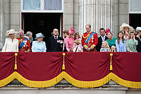 Camilla, Duchess of Cornwall; Prince Charles, Prince of Wales; HM Queen Elizabeth II &amp; Prince Philip, Duke of Edinburgh; Catherine, Duchess of Cambridge; Princess Charlotte; Prince George &amp; Prince William, Duke of Cambridge &amp; members of the royal family on the balcony of Buckingham Palace following the Trooping of the Colour Ceremony celebrating the Queen's official birthday. London, UK. <br /> 17 June  2017<br /> Picture: Steve Vas/Featureflash/SilverHub 0208 004 5359 sales@silverhubmedia.com