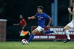 ELON, NC - SEPTEMBER 02: Presbyterian's Clement Vannier (FRA). The Elon University Phoenix hosted the Presbyterian College Blue Hose on September 2, 2017 at Rudd Field in Elon, NC in a Division I college soccer game. Elon won the game 2-0.