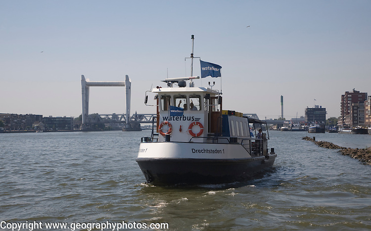 The Waterbus is a public transportation system on the River Maas linking Rotterdam to Dordrecht and with several smaller branch lines, South Holland, Netherlands. This is the small waterbus between Dordrecht and Zwijndrecht.