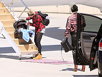 April 26, 2014 Gwen Stefani and Family arriving at Van Nuys Airport to board a private jet for a family trip MaidanA/MPI/Starliteh  **First time the baby has been out to be photographed*** /NortePhoto
