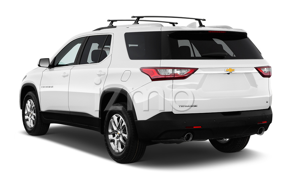 Car pictures of rear three quarter view of a 2018 Chevrolet Traverse 1LT 5 Door SUV angular rear