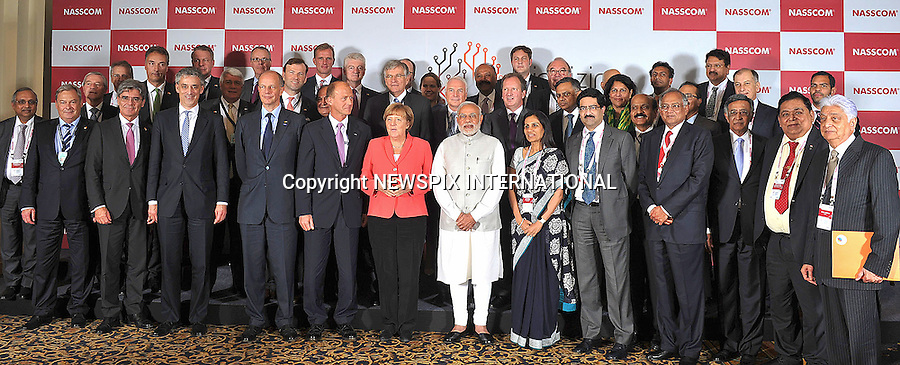 06.10.2015; Bangalore, India: GERMAN CHANCELLOR ANGELA MERKEL AND INDIAN PM MODI<br />attend the Business Forum organised by the NASSCOM &amp; Frauenhofer Institute at the Hotel Leela Palace in Bengaluru.<br />Merkel is on a 3-day visit to India<br />Mandatory Credit Photos: NEWSPIX INTERNATIONAL<br /><br />**ALL FEES PAYABLE TO: &quot;NEWSPIX INTERNATIONAL&quot;**<br /><br />PHOTO CREDIT MANDATORY!!: NEWSPIX INTERNATIONAL(Failure to credit will incur a surcharge of 100% of reproduction fees)<br /><br />IMMEDIATE CONFIRMATION OF USAGE REQUIRED:<br />Newspix International, 31 Chinnery Hill, Bishop's Stortford, ENGLAND CM23 3PS<br />Tel:+441279 324672  ; Fax: +441279656877<br />Mobile:  0777568 1153<br />e-mail: info@newspixinternational.co.uk