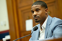 Civil rights demonstrator Kishon McDonald makes an opening statement during a House Natural Resources Committee hearing on Monday, June 29, 2020 to discuss the recent incident with U.S. Park Police removing protesters and journalists on June 1st at St. John's Episcopal Church near the White House for President Trump to conduct a photo op<br /> Credit: Bonnie Cash / Pool via CNP / MediaPunch