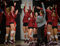 Stanford, CA - October 18, 2019: Holly Campbell, Mackenzie Fidelak, Sidney Wilson, Michaela Keefe, McKenna Vicini, Kendall Kipp, Selina Xu at Maples Pavilion. The No. 2 Stanford Cardinal swept the Colorado Buffaloes 3-0.