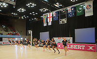 28.01.2017 General view of the Silver Ferns warming up before the Silver Ferns v Australian Diamonds netball test match played at the International Convention Centre studium in Durban, South Africa.<br />  Mandatory Photo Credit ©Reg Caldecott/Michael Bradley Photography.