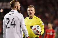 Toronto, ON, Canada - Saturday Dec. 10, 2016: Stefan Frei, referee Alan Kelly during the MLS Cup finals at BMO Field. The Seattle Sounders FC defeated Toronto FC on penalty kicks after playing a scoreless game.