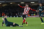 Emil Krafth of Newcastle United tackles John Fleck of Sheffield United during the Premier League match at Bramall Lane, Sheffield. Picture date: 5th December 2019. Picture credit should read: James Wilson/Sportimage