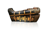 Acient Egyptian sacophagus of Kha - outer coffin from  tomb of Kha, Theban Tomb 8 , mid-18th dynasty (1550 to 1292 BC), Turin Egyptian Museum. white background