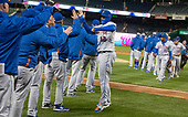 New York Mets center fielder Juan Lagares (12) celebrates with his teammates following their victory and series sweep against the Washington Nationals at Nationals Park in Washington, D.C. on Sunday, April 8, 2018.  The Mets won the game 6-5.<br /> Credit: Ron Sachs / CNP<br /> (RESTRICTION: NO New York or New Jersey Newspapers or newspapers within a 75 mile radius of New York City)