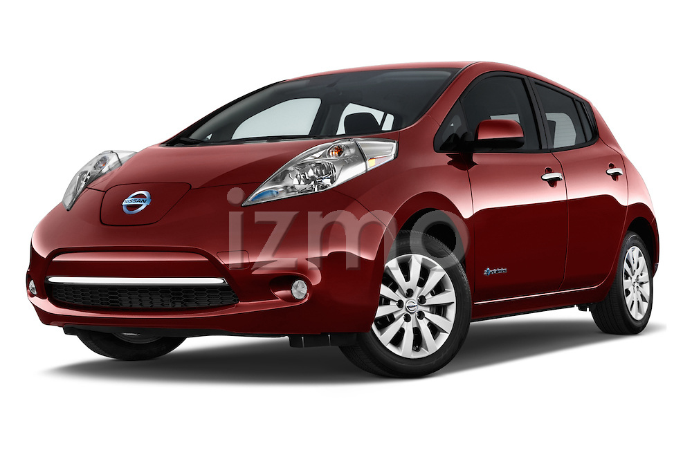 Stock pictures of low aggressive front three quarter view of 2017 Nissan LEAF S 5 Door Hatchback Low Aggressive