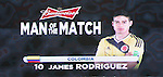 James Rodriguez (COL),<br /> JUNE 28, 2014 - Football / Soccer :<br /> James Rodriguez of Colombia is named the Man of the Match after the FIFA World Cup Brazil 2014 Round of 16 match between Colombia 2-0 Uruguay at Estadio do Maracana in Rio De Janeiro, Brazil. (Photo by SONG Seak-In/AFLO)