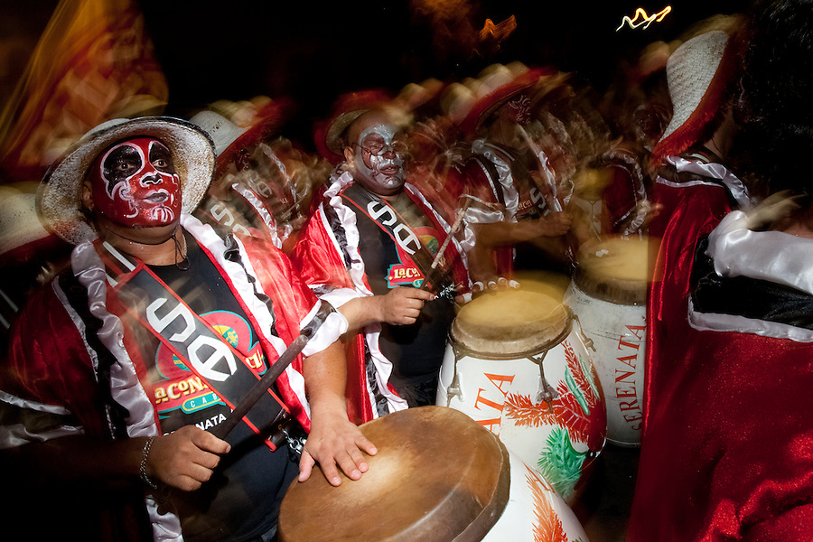 Drummers in the parade of Llamadas during Carnaval in Montevideo, Uruguay.