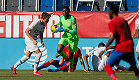 CARSON, CA - FEBRUARY 1: Sean Johnson #1 of the United States comes up with the ball during a game between Costa Rica and USMNT at Dignity Health Sports Park on February 1, 2020 in Carson, California.