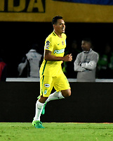 BOGOTA - COLOMBIA - 07 – 04 - 2017: Aldo Leao Ramirez,  jugador de Atletico Nacional, celebra el gol anotado a Millonarios, durante partido de la fecha 12 entre Millonarios y Atletico Nacional, por la Liga Aguila I-2017, jugado en el estadio Nemesio Camacho El Campin de la ciudad de Bogota. / Aldo Leao Ramirez,  player of Atletico Nacional, celebrates a goal scored to Millonarios, during a match of the date 12 between Millonarios and Atletico Nacional, for the Liga Aguila I-2017 played at the Nemesio Camacho El Campin Stadium in Bogota city, Photo: VizzorImage / Luis Ramirez / Staff.