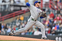 Hartford Yard Goats starting pitcher Zach Jemiola (17) delivers a pitch during a game against the Richmond Flying Squirrels at The Diamond on April 30, 2016 in Richmond, Virginia. The Yard Goats defeated the Flying Squirrels 5-1. (Tony Farlow/Four Seam Images)